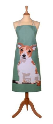 Ulster Weavers 100% Cotton Adult Apron in Green with Jack the Jack Russell Dog