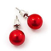 Red Lustrous Faux Pearl Stud Earrings (Silver Tone Metal) - 9mm Diameter