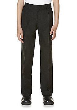 "F&F School 2 Pack of Boys Teflon EcoElite""™ Pleat Front Plus Fit Trousers - Dark grey"