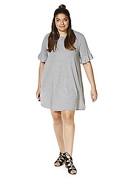 Simply Be Marl Jersey Frill Sleeve Swing Dress - Grey