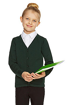 F&F School Girls Scallop Trim Cardigan with As New Technology - Green