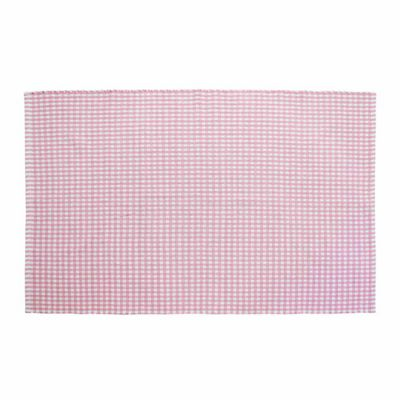 Homescapes Cotton Gingham Check Rug Hand Woven Pink White, 110 x 170 cm