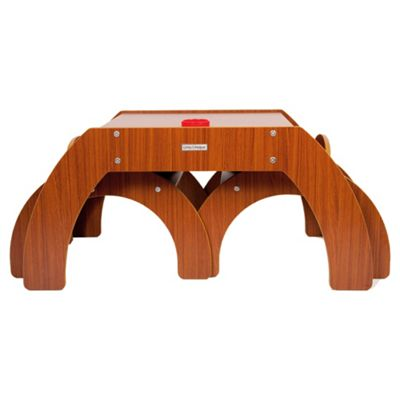 Little Helper Fun Station Duo Toddler Table & 2 Chairs Set In Walnut