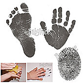 Baby Handprints and Footprints Kit Black Inkless Wipes No Messy Ink!