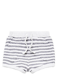 F&F Striped Loopback Jersey Shorts - Black, White & Grey
