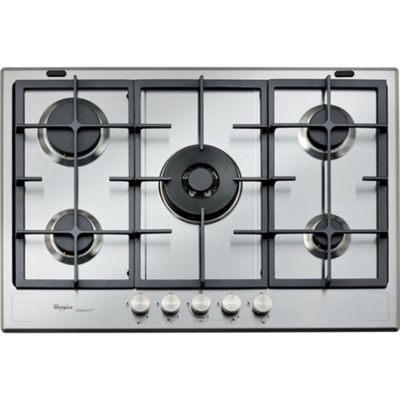 Whirlpool GMF7522IXL 750mm Gas Hob 5 Burners inc WOK burner, Stainless Steel