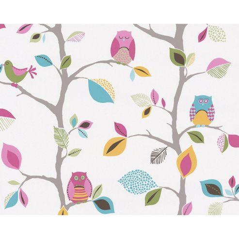 Bright Owls Wallpaper 10m - White