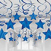Blue Star Hanging Swirl Decorations - 60cm