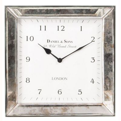 Classic Style Square Wall Clock Antique Silver Frame Cream Face