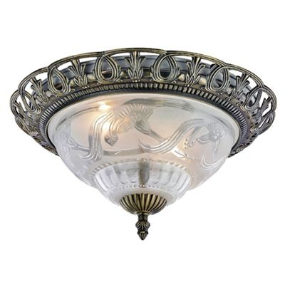 Traditional and classic antique brass and floral glass flush ceiling light