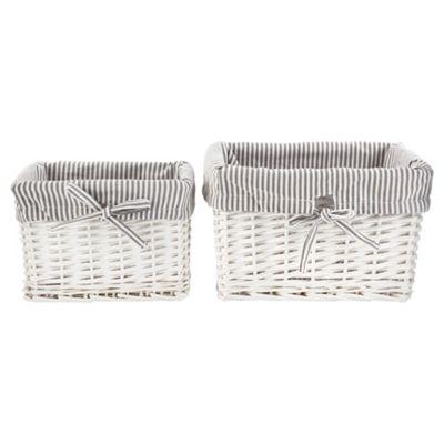Tesco Wicker Baskets Pack of 2  Grey Stripe Fabric Lined  White. Buy Tesco Wicker Baskets Pack of 2  Grey Stripe Fabric Lined
