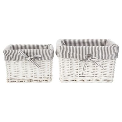 Tesco Wicker Baskets Pack of 2, Grey Stripe Fabric Lined, White