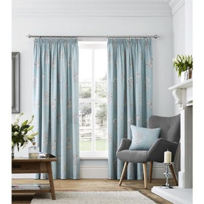 Fusion Flora Lined Pencil Pleat Curtains Duck Egg Blue - 66x54 (168x137cm)