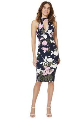AX Paris Floral Print Choker Dress Navy Multi 12