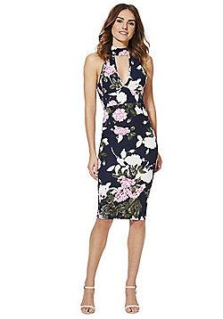 AX Paris Floral Print Choker Dress - Navy Multi