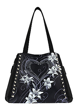 Spiral Pure Of Heart PU Leather Studded Women's Handbag 33x37x14cm, Black