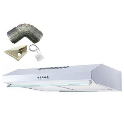 SIA STV60WH 60cm Visor White Cooker Hood Kitchen Extractor Fan + 3m Ducting