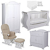 Tutti Bambini Marie 5 Piece Nursery Room Set - White
