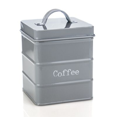 Harbour Housewares Kitchen Coffee Canister in Vintage Metal - Grey