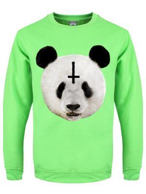 Unorthodox Panda Lime Green Men's Sweater