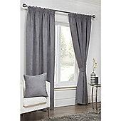 Hamilton McBride Faux Suede Pencil Pleat Curtains - Grey