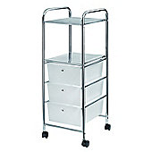 Aspen 3 Drawer Storage Trolley/ Cart-White
