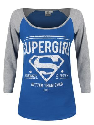 DC Comics Supergirl Grey & Blue Women's Long-sleeve Raglan T-Shirt