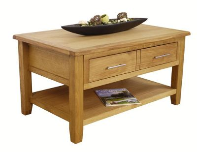 Nebraska Oak Coffee Table With Storage 1 Drawer