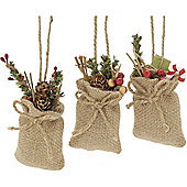 Festive Foliage Hessian Sack Christmas Tree Decorations, 6 pack