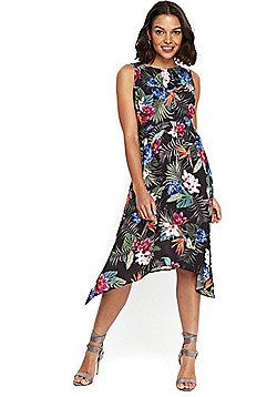 Wallis Petite Tropical Print Handkerchief Hem Dress - Black