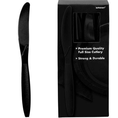 Black Plastic Knives - 100 Pack