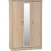 ValuFurniture Lisbon 3 Door Wardrobe - Light oak