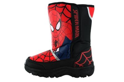 Boys Spiderman Black and Red Warm Winter Rubber Snow Boots Wellies UK Child Size 12
