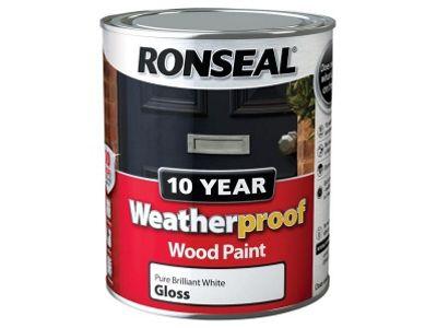 Ronseal RSLWPPBWG750 750 ml Weatherproof Exterior Wood Paint - Brilliant White Gloss