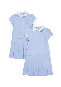 F&F School 2 Pack of Permanent Pleat Gingham Dresses - Blue & White