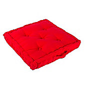 Homescapes Cotton Red Floor Cushion, 40 x 40 cm