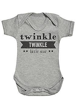 Twinkle Twinkle Little Star Short Sleeve Baby Bodysuit - Grey