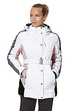 F&F Active Quilted Belted Ski Jacket - White