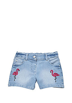 F&F Flamingo Sequin Denim Shorts - Light Wash