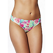 F&F Rose Print Narrow Bikini Briefs - Green & Pink