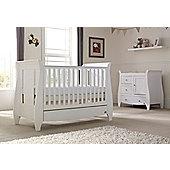 Tutti Bambini Lucas 2 Piece + Sprung Mattress Nursery Room Set White Finish