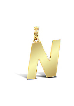 9ct Yellow Gold Initial Charm Identity Pendant - Letter N