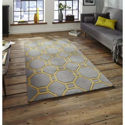 Modern Loft Grey & Yellow Rug - 90x150cm