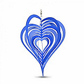 Blue Heart Shaped Steel Garden Windspinner