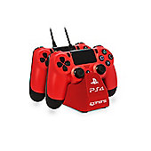 4GAMERS PS4 TWIN PLAY N CHARGE CABLES - RED