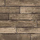 Wooden Plank Gold Wallpaper