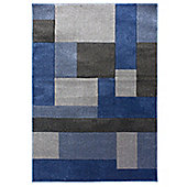 Hand Carved Cosmos Blue & Grey Rug - 120x170cm