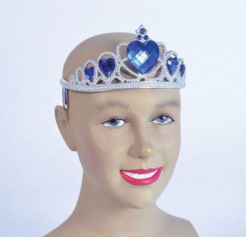 Tiara Silver Plastic Deluxe W/Blue Stone