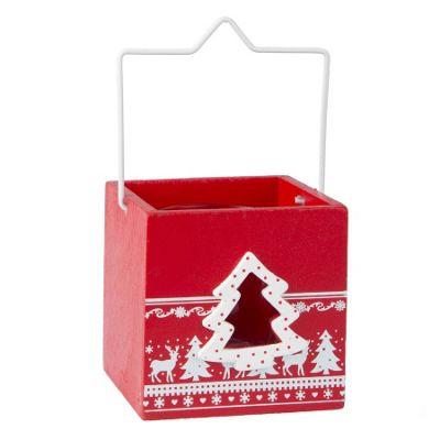 Nordic Red Christmas Tea Light Holder