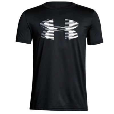 Under Armour Big Logo Tech Boys Kids T-Shirt Tee - Black - YXS